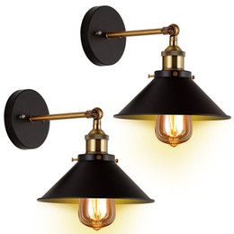 swing arm sconce lighting UK - Vintage Wall Sconce Black Hardwire Industrial Retro Wall Lights Fixture Arm Swing Wall Lights for Home Aisle Kitchen Room Doorway