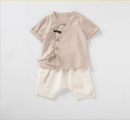 Chinese Suits Australia - Children hanfu male baby summer 2019 children's wear guoxuefu boys tangzhuang cotton and linen baby Chinese style suit 0316