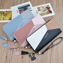 zero coin UK - Newest lady clutch purse long style Joining together zipper tassel large capacity phone bag zero wallet
