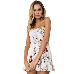 8fc0cc9e43 Women Girls Summer Beach Sexy Sleeveless Floral Printed Off Shoulder Off  Collar Elastic Boob Tube Top Short Romper Jumpsuit