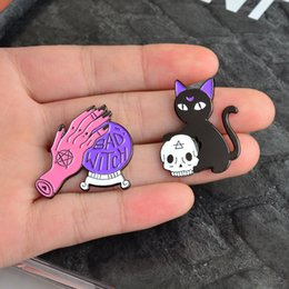 "$enCountryForm.capitalKeyWord Australia - Purple Magic Ball ""BAD WITCH"" Pink Hand Cat Holding Skull Brooch Personality Creative Decoration Special Cartoon Lapel Jeans"