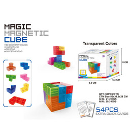 $enCountryForm.capitalKeyWord NZ - Baby Magic Magnetic Tube 7Pcs Set Magnetic Blocks Toys Magnet Extra 54Pcs Guide Cards Model Building Construction Education Toy For Children