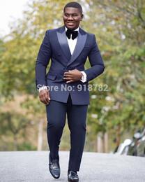 $enCountryForm.capitalKeyWord NZ - Popular Double-Breasted Groomsmen Peak Lapel (Jacket+Pants+Tie) Groom Tuxedos Groomsmen Best Man Suit Mens Wedding Suits Bridegroom b136