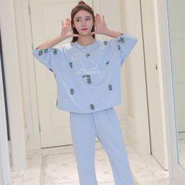 $enCountryForm.capitalKeyWord Australia - 2019 New Summer Women Cotton Pajamas Set Half Sleeves T-Shirt+Pants Soft Cute Loose Cartoon Print Night Wear Sleepwear Homewear
