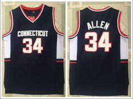 Опт Выпуск NCAA Университета Коннектикута № 34 Allen Jersey в новой темно-синей вышитой ткани