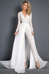 Discount pleated chiffon belt - 2019 New Lace 2019 New Lace Chiffon Wedding Dress Modest V neck Long Sleeve Beaded Belt Skirt Beach Casual Jumpsuit Brid