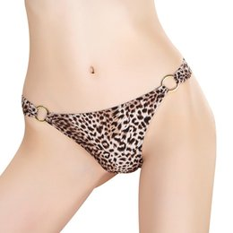 14d8f7fd3 Sexy Leopard Underwear Women lower-Rise Ladies Thongs and G Strings Straps  Metal Buckle Hollow Panties Imitation Lingerie