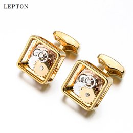 $enCountryForm.capitalKeyWord Australia - Hot Sale Square Steampunk Gear Cufflinks Lepton Watch Mechanism Cuff Links For Men Business Wedding Cufflinks Relojes GemelosSH190721
