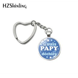 silver plants NZ - New Super Papy Heart Key Chains Holder Glass Dome Pendant Silver Color French Word Grandpa Gifts Car Keyring Fob Jewelry