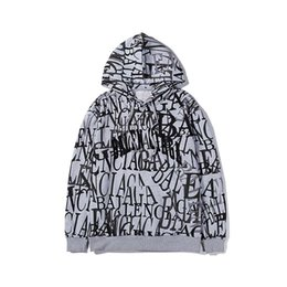 Discount custom graffiti - 19 FW Mens Hooded jacket Paris Custom New Graffiti Printing Fashion Hoodie Personality Trend Casual Motorcycle Riding hi