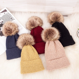 $enCountryForm.capitalKeyWord NZ - New Pattern Knitted hat Winter Cotton Women Hats Thickening Keep Warm Hairy Ball Wool Hat Heat Sell Knitting