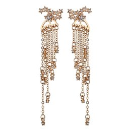 $enCountryForm.capitalKeyWord Australia - Crystal Rhinestone Chain Tassel Pendant Earrings Female Wedding Party Charm Gold Silver Earrings Jewelry Gift E2906