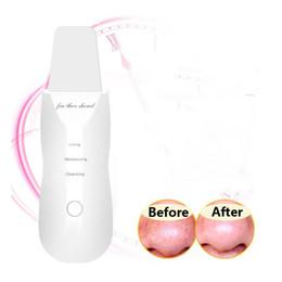 Venta al por mayor de Recargable ultrasónica piel de la cara del USB limpiador del depurador Peeling facial vibración de la espinilla del poro de eliminación Exfoliante herramientas de limpieza