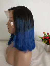 ombre hair black blue 2019 - Colored Blue Human Hair Wigs For Black Women Straight Brazilian Ombre Short Pixie Bob Wig Cheap Pre Plucked 1B Blue Glue