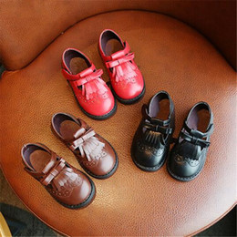 Toddler Black Girls Dress Shoes Australia - New Spring Autumn Leather Shoes Girls Princess Fashion School Student Baby Toddler Dress Shoes Kids Flats
