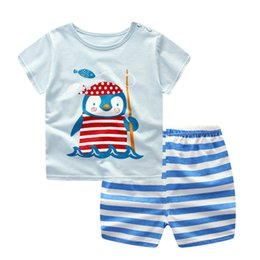 17a4fb57f03 Baby Sets Summer Toddler Infant Baby Boys Girls Short Sleeve Cartoon Penguin  T-Shirt Tops+Striped Pants Set Baby Clothes M8Y22