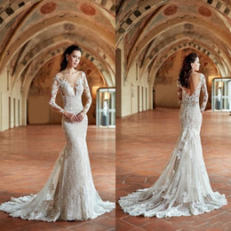Wholesale gold low back resale online - New Design Autumn Vintage Lace Mermaid Wedding Dresses Crew Neck Sheer Long Sleeves Lace Appliqued Sexy Low Back Bridal Gowns