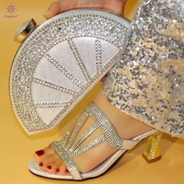 $enCountryForm.capitalKeyWord Australia - Silver Color African Shoes with Matching Bags 2019 New Design Shoe and Bag Set Nigerian Style Shoes and Bag to Match Sandals