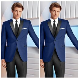 $enCountryForm.capitalKeyWord Australia - New Custom 2020 Formal Groom Men Tuxedos For Wedding Slim Fit Groomsmen Tuxedos Three Pieces Handsome Business Suit (Jacket+Pants+Vest+Bow)