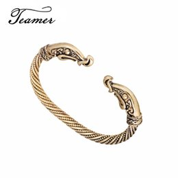nail bracelet woman UK - nail bangle Teamer Screw Nail Bangle Punk Gothic Charm Knot Viking Bangles Gold-color Crow Wristband Cuff Bracelets for Men Women Gifts