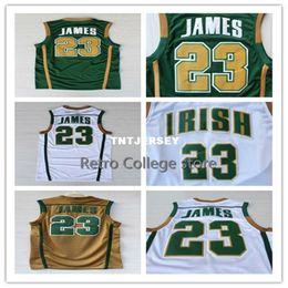 b5d217f80 Irish Gold NZ - Irish High School  23 LeBron James Jersey Men s Stitched basketball  Jersey