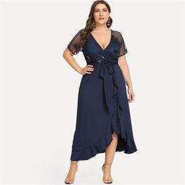 $enCountryForm.capitalKeyWord UK - 2019 Plus Size Navy Deep V Neck Sequin Mesh Wrap Sexy Dress Women Autumn Black Belted Party Elegant Dresses
