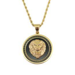 Venta al por mayor de Cabeza de león de hip hop collares colgantes redondos para hombres occidental animal collar de lujo cadenas de acero inoxidable de Cuba etiqueta de perro joyería envío gratis