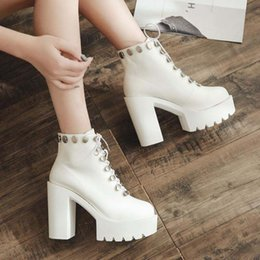$enCountryForm.capitalKeyWord Australia - Autumn Ankle Boots For Women Motorcycle white Boots Chunky Heels Casual Lacing Round Toe Platform Boots Shoes Female YMA903