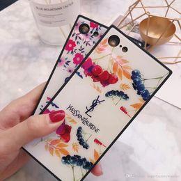 $enCountryForm.capitalKeyWord Australia - 1pcs For Iphone 8 Phone Case Classic Pattern Phone Case Square Corner Glass Phone Case For Iphone 6 7 x