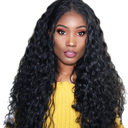 brazilian swiss full lace wig NZ - Human Hair Wigs Brazilian Glueless Full Wigs Water Wave Lace Front Wigs Medium Size Cap Swiss Lace
