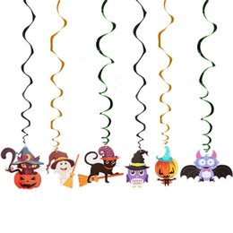 Discount halloween decorations spider web Hot Halloween New Nonwovens Bat Spider Web Party Decoration Home supplies Skull Pumpkin Flags 1 Set Pull Flower Pendant