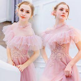 vestido festa longo long evening dress 2019 - Pink Prom dress Vestido de festa Ruffle High Neck Applique Lace Long Evening Party dresses for graduation vestido de fes