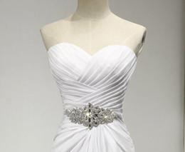White Dresses Red Sash Australia - White Ivory New Sweetheart Chiffon Wedding Dress Wish Sash Bridal Gown Custom Plus Size Formal Occasion Party