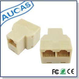 Lan Connectors Australia - 30PCS lot Aucas RJ45 Splitter Modular adapter (3 ways) LAN Ethernet Connector Adapter 8P8C Network modular plug
