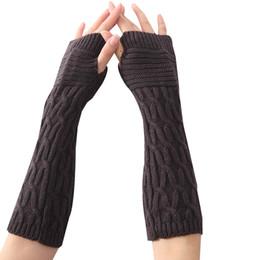 Mittens Knitted Pattern Australia - 1 Pair Winter Autumn Fold Pattern Women Girls Knit Arm Warmer Gloves Stripe Arm Wrist Sleeve Mittens