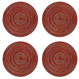 table setting placemats Canada - ABSS-Round Placemats For Dining Table Heat Resistant Wipeable Placemat Washable Kitchen Place Mats Set Of 4,Red Round