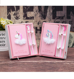 Notepad Girl Gift Australia - Creative Cute Unicorn Notebook Set Notepad Student Diary Ball Ballpoint pen Learning Office Stationery Gift for Girls