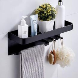 $enCountryForm.capitalKeyWord Australia - Nail Free Black Space Aluminum Bathroom Shelves With Hooks Wall Mount Bathroom Shelf Bath Storage Rack Hook Easy To Install D T8190626