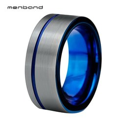 39fc8a55474 8mm Tungsten Carbide Blue Ring for Men Women Offset Line Matted Finish  Comfort Fit Silver Flat Surface Comfort Fit Blue Inside