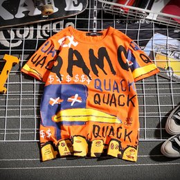 T Shirt Man Hong Kong Australia - T-shirt Men Korean version Cotton Graffiti letter Short sleeve fashion Hong Kong flavor Leisure Hip hop Half sleeve Street clothing