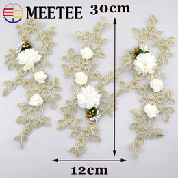 EmbroidEriEd patchEs online shopping - meetee KY2059 Water Soluble Gold Embroideried Lace Applique Wedding Dress Accessories Lace Trim Handmade DIY Sewing on Patches