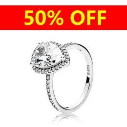 Crystal tears online shopping - Luxury Sterling Silver Tear drop RING Set Logo Original Box for Pandora CZ Diamond Women Wedding Water drop Rings Jewelry