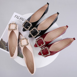 Comfortable Soft Women Shoes Australia - New women designer shoes ladies flat pointed toe soft patent leather with belt ballet flats,ladies comfortable loafer party dress shoes