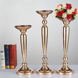decoration vase candles 2019 - 44CM 50CM 57CM Gold Candle Holders Flower Vase Candlestick Wedding Decoration Table Centerpieces Flower Rack Road Lead c