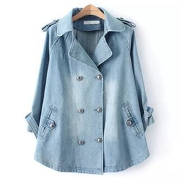 $enCountryForm.capitalKeyWord NZ - Autumn Winter Plus Size Denim Cape Jacket Women Outwear 3 4 Sleeve Turn-down Collar Double Breasted Jeans Long Dress Coat