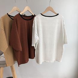 Oversized White Shirt Women Australia - 2018 Oversized Striped T Shirts Women Summer Fashion Loose Batwing Sleeve Tees Femme White O Neck Cotton T Shirts Casual Khaki Y19051104