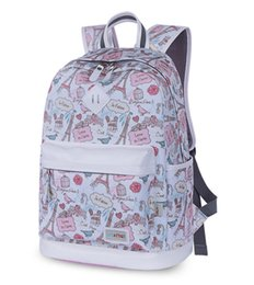 $enCountryForm.capitalKeyWord NZ - New Fashion Teenage Women Canvas Backpack High Quality Eiffel Tower Flowers Printing Casual School Girl Bag mochila