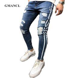 Hip Hop Stretch Pants NZ - New Justin Bieber Streetwear hip hop Men Side white print strip Knee Hole Ripped biker skinny jeans Stretch Denim Joggers pants