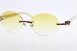 $enCountryForm.capitalKeyWord Australia - Wholesale High end Sunglasses new large diamond Rimless White Genuine Natural Horn Sunglasses 3524012 Red stone Glasses Hot Round Unisex New
