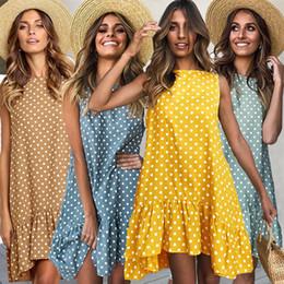Women S Beach Clothes NZ - S-3XL Women Dot Printing Dresses 2019 Summer Fashion Wave Point Falbala Vest Dress Party Seaside Travel Beach Dresses Clothing Hot C42303